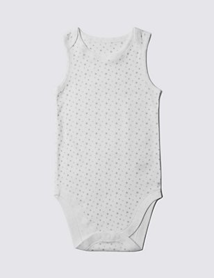 Pure Cotton Sleeveless Bodysuit (3-8 Years), WHITE, catlanding