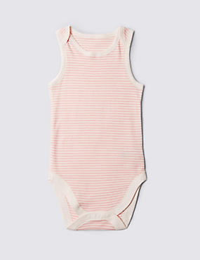 Pure Cotton Sleeveless Bodysuit (3-8 Years), PINK MIX, catlanding