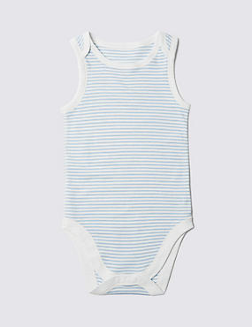 Pure Cotton Sleeveless Bodysuit (3-8 Years), BLUE MIX, catlanding