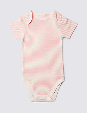 Pure Cotton Short Sleeve Bodysuit (3-8 Years), PINK MIX, catlanding
