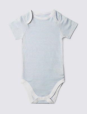 Blue Stripe Short Sleeve Bodysuit (3-8 Years), BLUE MIX, catlanding
