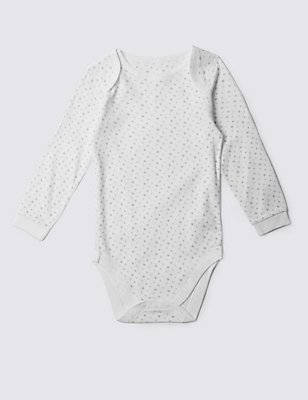 Pure Cotton Long Sleeve Bodysuit (3-8 Years), WHITE, catlanding