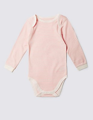 Pure Cotton Long Sleeve Bodysuit (3-8 Years), PINK MIX, catlanding