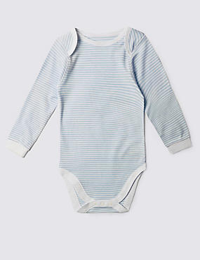 Pure Cotton Long Sleeve Bodysuit (3-8 Years), BLUE MIX, catlanding