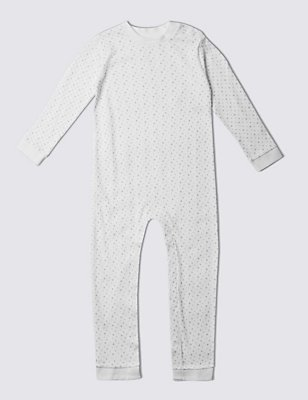 Unisex Pure Cotton Sleepsuit (3-8 Years), WHITE, catlanding