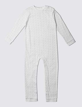 Unisex-Schlafanzug aus reiner Baumwolle (3–8 Jahre), WHITE, catlanding