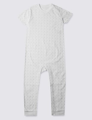 Grey Star Short Sleeve Sleeping Suit Without Feet (3-8 Years), WHITE, catlanding