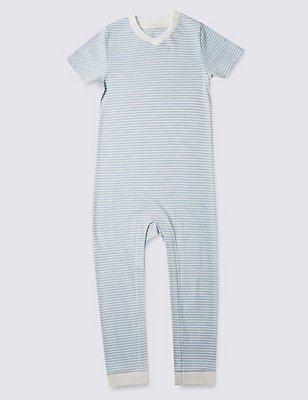 Blue Stripe Short Sleeve Sleeping Suit Without Feet (3-8 Years), BLUE MIX, catlanding