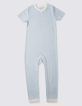 Pijama de rayas azules de manga corta sin pies (3-8años), BLUE MIX, catlanding
