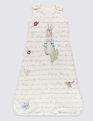 Peter Rabbit™ Pure Cotton 1.4 Tog Sleeping Bag, WHITE MIX, catlanding