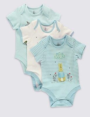 3 Pack Pure Cotton Peter Rabbit™ Bodysuits, BLUE MIX, catlanding