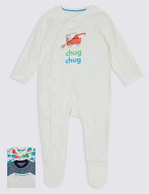 3 Pack Pure Cotton Assorted Sleepsuits, SOFT WHITE, catlanding