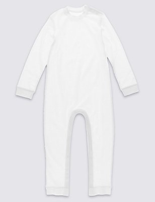 Long Sleeve Sleeping Suit without Feet (3-8 Years), WHITE, catlanding