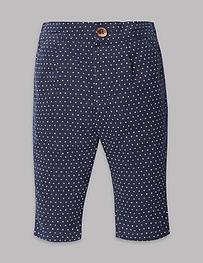 Pure Cotton Spotted Cord Trousers, NAVY MIX, catlanding