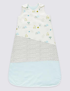 Sleeveless Pure Cotton 2.2 Tog Sleeping Bag, LIGHT AQUA, catlanding