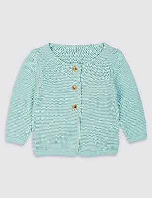 Pure Cotton Knitted Cardigan , LIGHT GREEN, catlanding