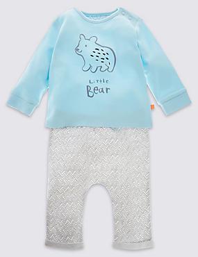 2-delige outfit van uniseks joggingbroek en T-shirt met beer, BLAUWGROEN MIX, catlanding