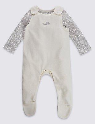 2 Piece Pure Cotton Porcupine Print Velour Bodysuit & Dungarees Outfit, WHITE MIX, catlanding