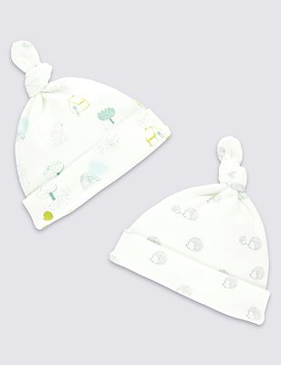 2 Pack Pure Cotton Assorted Hats, WHITE MIX, catlanding