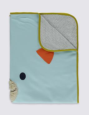 Schal aus reiner Baumwolle mit Bärenmotiv, BLAUGRÜN MELANGE, catlanding