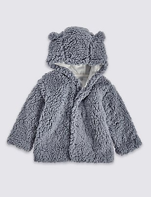 Fleece Hooded Jacket, GREY, catlanding