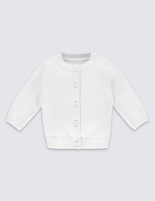 Pure Cotton Raglan Sleeve Cardigan, WHITE, catlanding