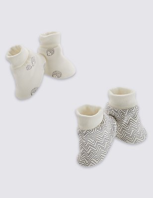 2 Pack Pure Cotton Assorted Booties, CREAM MIX, catlanding