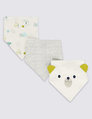 3 Pack Pure Cotton Dribble Bibs, MULTI, catlanding