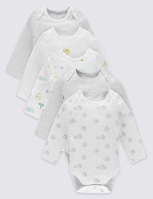 5 Pack Pure Cotton Long Sleeve Bodysuits, WHITE MIX, catlanding