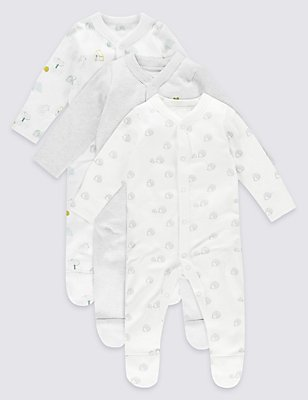 3 Pack Pure Cotton Unisex Assorted Sleepsuits, WHITE MIX, catlanding