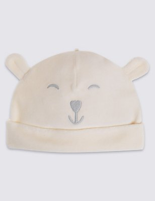 Kids' Bear Velour Hat, WINTER WHITE, catlanding
