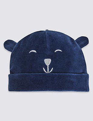 Kids' Bear Velour Hat, BLUE, catlanding