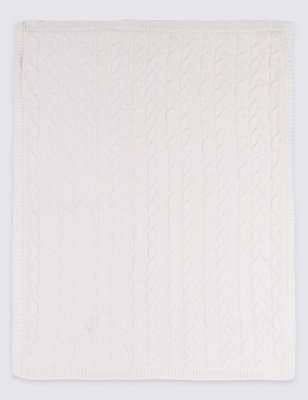 Pure Cotton Cable Knitted  Fleece Lined Shawl, CREAM MIX, catlanding