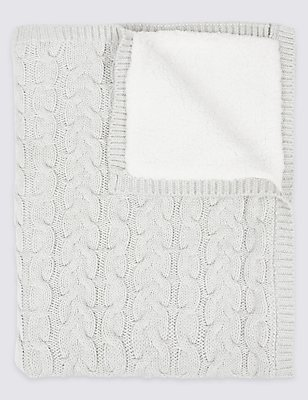 Pure Cotton Cable Knitted Shawl, GREY MARL, catlanding