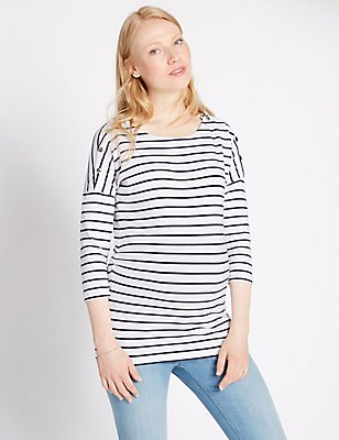 Maternity Striped Feeding T-Shirt with Modal , NAVY MIX, catlanding