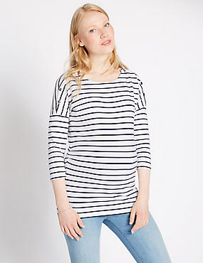 Maternity Striped Feeding T-Shirt with Modal