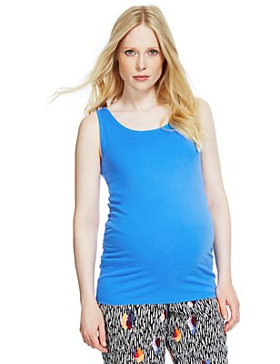 Maternity Cotton Vest Top with Stretch, BLUE, catlanding