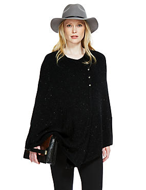 Maternity Metallic Effect Knitted Poncho