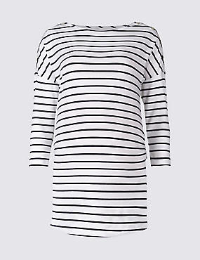 Maternity Striped 3/4 Sleeve Jersey Top with StayNEW™, NAVY/WHITE, catlanding