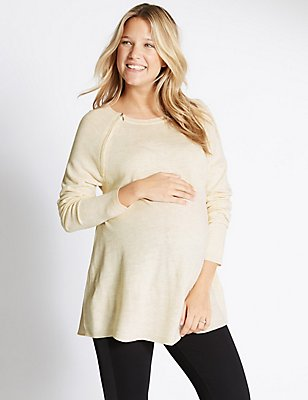 Maternity Feeding Knit Jumper, OATMEAL, catlanding