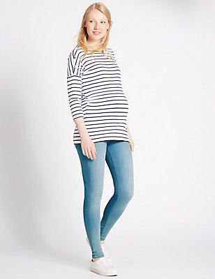 Super eng geschnittene Umstands-Jeggings, BLAUES DENIM, catlanding
