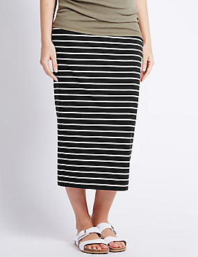 Maternity Striped Maxi Skirt with Modal, BLACK MIX, catlanding