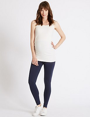 Maternity Cotton Leggings with Stretch, NAVY, catlanding