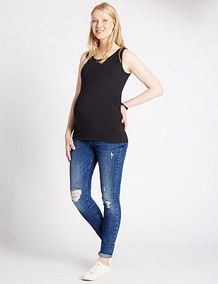 Maternity Distressed Slim Leg Jeans, DENIM, catlanding