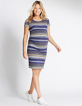 Maternity Jersey Dress with Modal, BLUE MIX, catlanding
