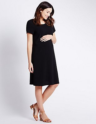 Maternity Crêpe Dress, BLACK, catlanding