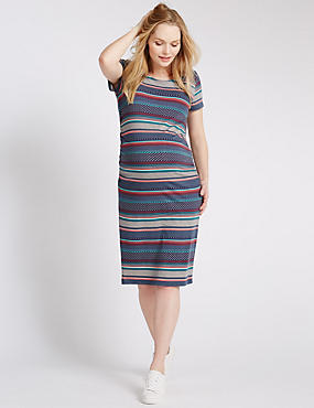 Maternity All Over Print Ruched Dress with Modal