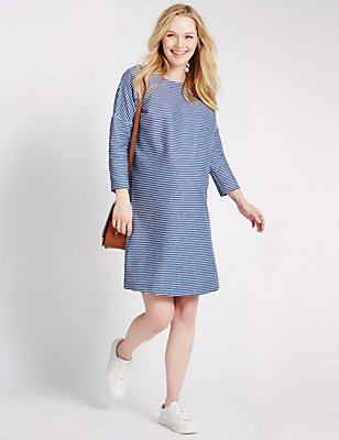 Maternity Striped Dress, BLUE MIX, catlanding