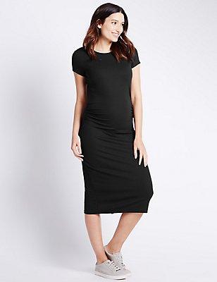 Maternity Ribbed Short Sleeve Dress, BLACK, catlanding