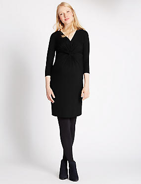 Maternity V-Neck Knot Front Jersey Dress, BLACK, catlanding